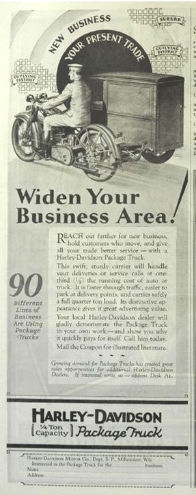 1929 Harley Davidson Motorcycle Package Truck Ad