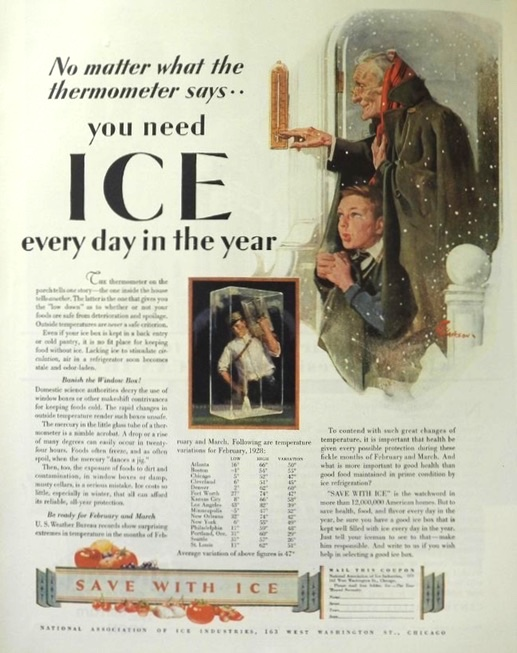 1929 You Need Ice Ad ~ Every Day in the Year
