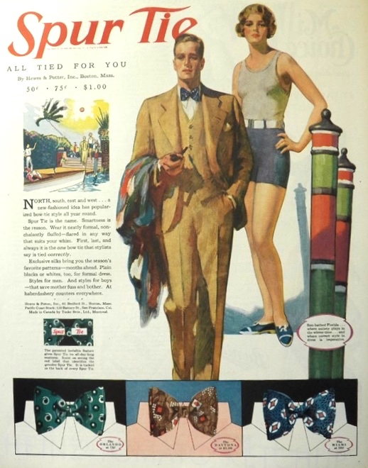 1929 Spur Bow Tie Ad ~ Florida Styles