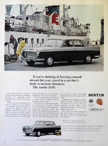 1965 Austin A110 Car Ad ~ Made to Measure Distances