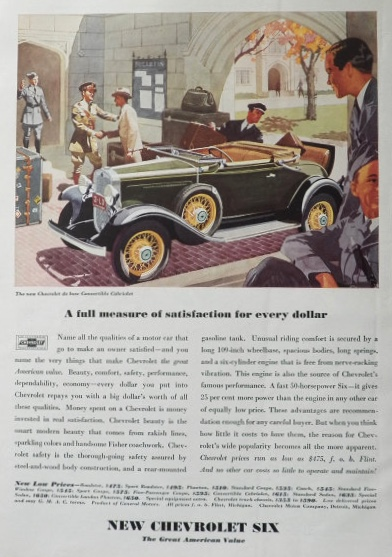 1931 Chevy Six Ad ~ Convertible Cabriolet