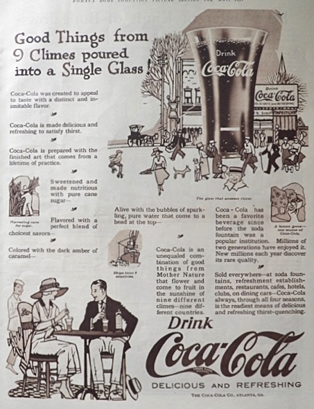 1921 Coca Cola Coke Ad ~ Good Things From 9 Climes