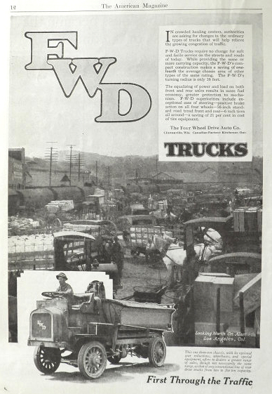 1919 FWD Antique Truck Ad ~ Alameda St., Los Angeles