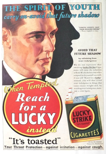 1930 Lucky Strike Cigarettes Ad ~ Spirit of Youth