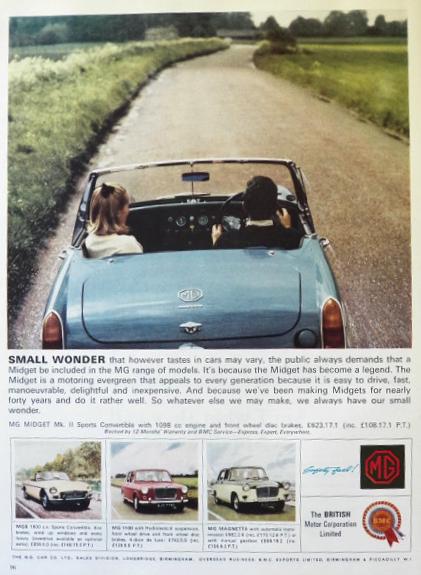 1970 MG Midget Car Ad Convertible Sports Car Vintage | Mg