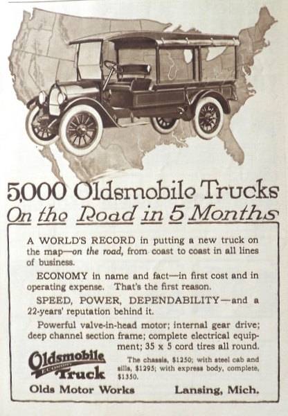 1919 Oldsmobile Truck Ad ~ 5000 On The Road