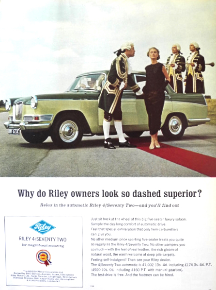 1966 Riley 4/Seventy Two Car Ad ~ Magnificent Motoring