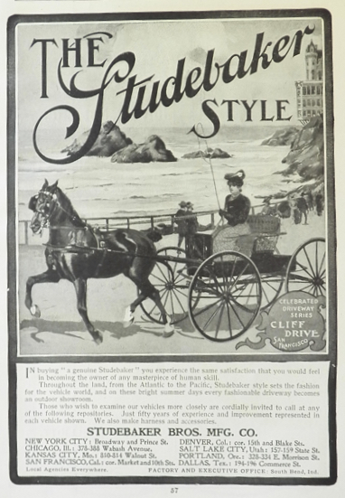 1902 Studebaker Horse Carriage Ad ~ Cliff Drive, San Francisco