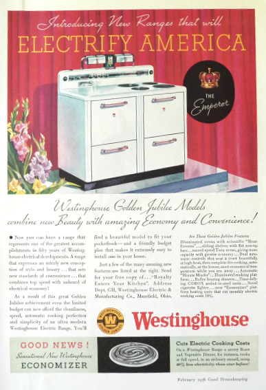 "1936 Westinghouse Electric Range Ad ~ The ""Emperor"""