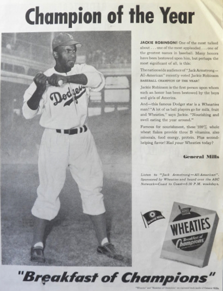 best website 692e0 82352 1950 Vintage Wheaties Ad ~ Baseball Jackie Robinson ~ Scarce