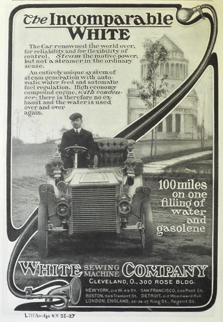 1903 White Steam Car Ad ~ 100 Miles on One Filling of Water and Gas
