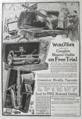1919 Wurlitzer Muscial Instruments Ad ~ Complete Outfits on Free Trial