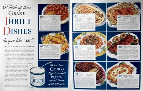 1932 Crisco Ad ~ Recipes for Thrifty Dishes