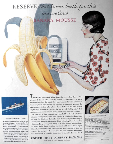 1931 United Fruit Company Ad ~ Banana Mousse Recipe