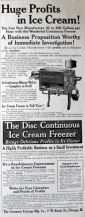 1910 Disc Continuous Ice Cream Freezer Ad ~ Frozen in Full View!