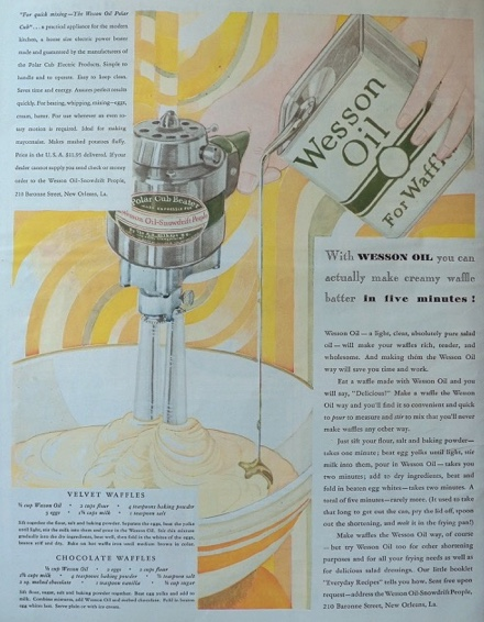 1930 Wesson Oil Ad ~ Waffle Recipes ~ Antique Polar Cub Beater