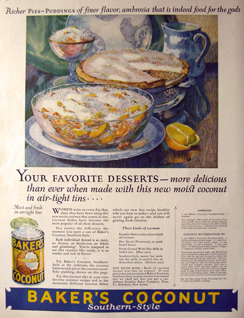 1925 Baker's Coconut Ad ~ Ambrosia & Pie Recipe