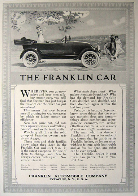 1917 Franklin Automobile Car Ad