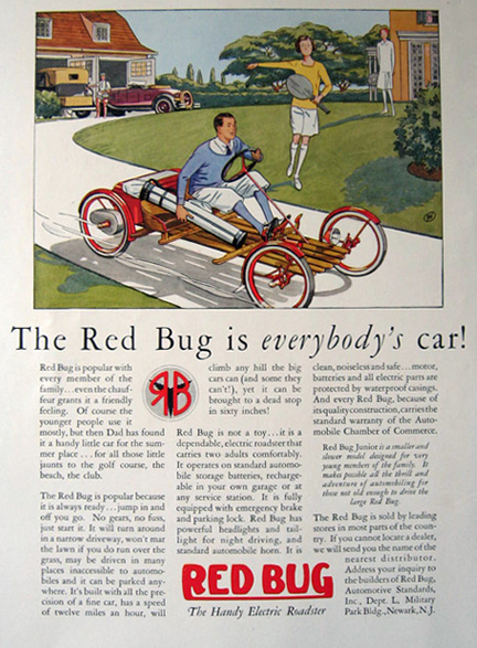 1928 Red Bug Electric Roadster Car Ad