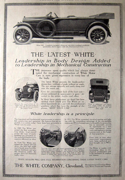 1914 White 4-45 Car Ad ~ The Latest White