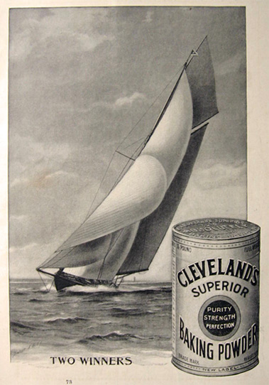 1895 Cleveland's Baking Powder Ad ~ Yacht