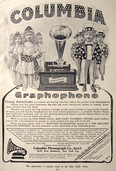 1906 Columbia Graphophone Ad ~ Patriotic Children