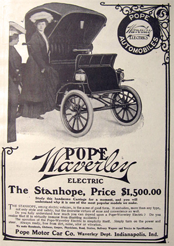1907 Pope Waverley Electric Car Ad ~ Stanhope