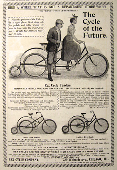 1898 Antique Rex Cycle Bicycle Ad ~ Tandem, Ladies, Gents Cycles