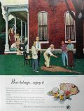 1947 Beer Belongs Ad ~ John Falter Pitching Horseshoes
