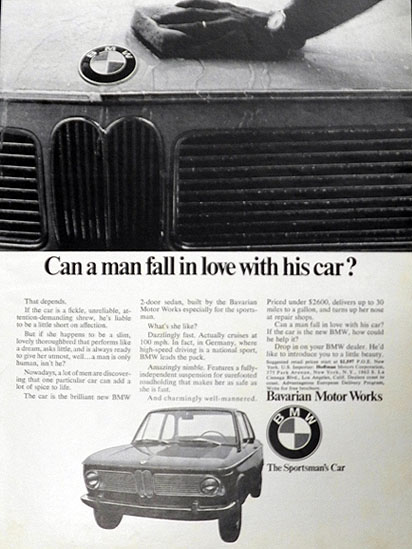 1968 Vintage BMW Ad ~ Can a Man Fall in Love with His Car?