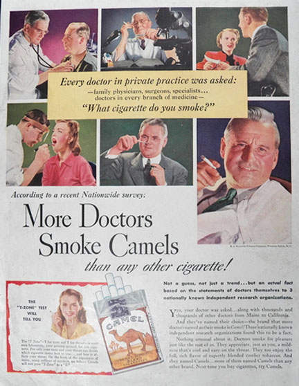 1946 Camel Cigarettes Ad More Doctors Smoke Camels