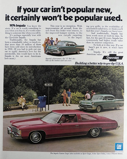1974 Chevy Impala Custom Coupe Ad ~ Remarkable Value