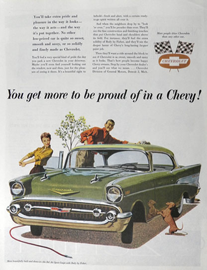 1957 Chevy Bel Air Sport Coupe Ad ~ More to Be Proud Of