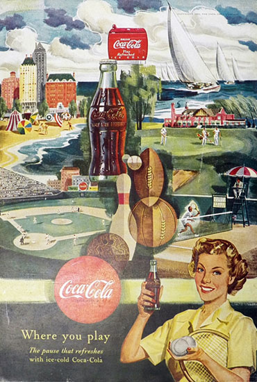 1950 Coca Cola Coke Ad ~ Francis Chase Sports Art