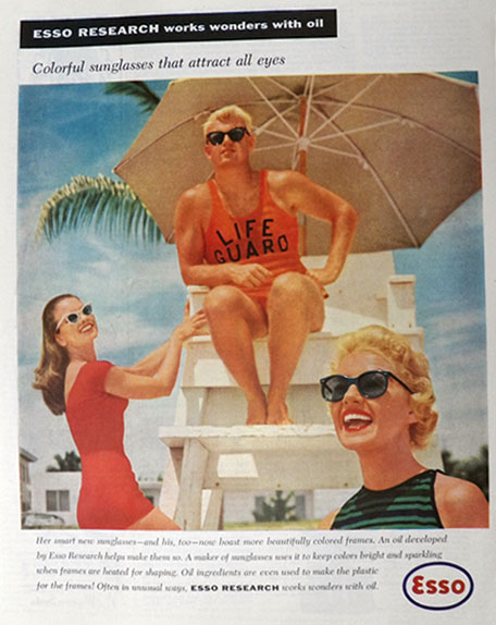 1957 Esso Oil Research Ad ~ Lifeguard, Vintage Sunglasses