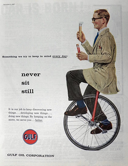 1957 Gulf Oil Ad ~ Man on Unicycle