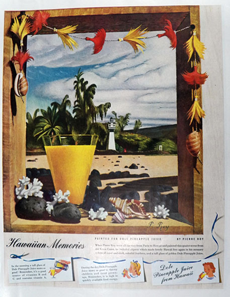 1940 Dole Pineapple Juice Ad ~ Pierre Roy Art