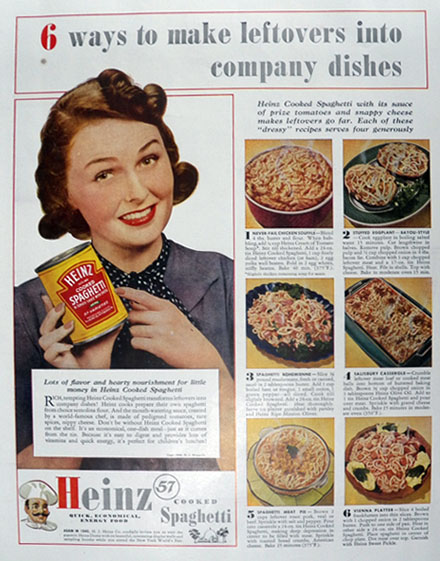 1940 Heinz Cooked Spaghetti Ad ~ Recipes for Leftovers
