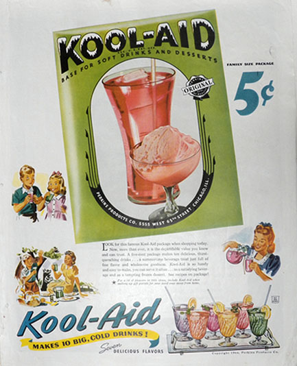 1944 Kool-Aid Ad ~ Makes Big, Cold Drinks