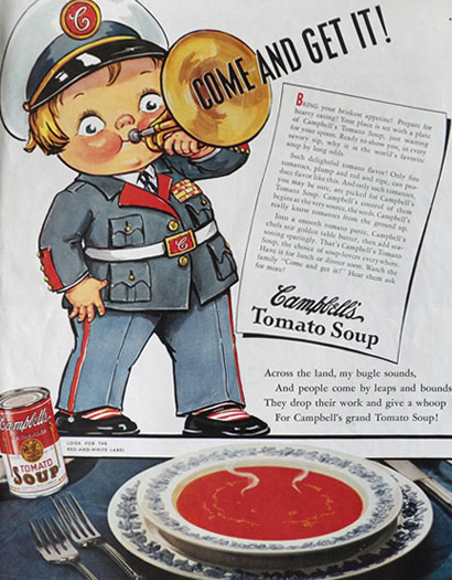 1938 Campbell's Soup Ad ~ Campbell's Kid Bugle Player