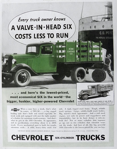 1934 Chevy Six Cylinder Truck Ad ~ Costs Less to Run