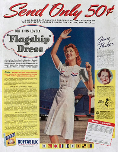 1940 Softasilk Flour Ad ~ Vintage Military Flagship Dress