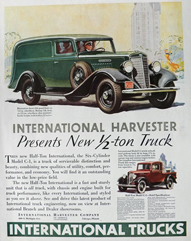 1934 International Harvester Truck Ad ~ Panel Truck
