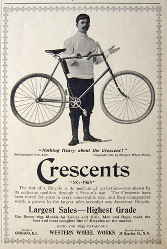 1895 Crescent Bicycle Ad ~ Sky High