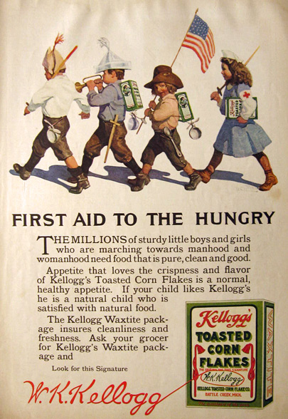 1915 Kellogg's Corn Flakes Ad ~ First Aid to the Hungry