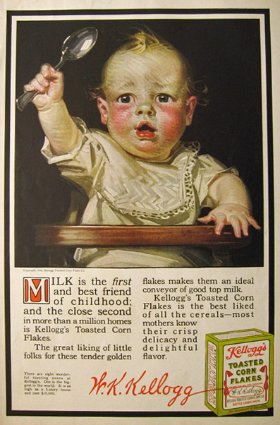 1916 Kellogg's Corn Flakes Ad ~ Baby with Spoon