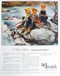 1947 Avondale Mills Ad ~ Boys Fishing ~ Douglass Crockwell