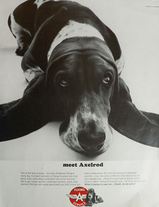 1965 Flying A Service Station Ad ~ Axelrod the Basset Hound