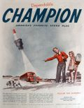 1947 Champion Spark Plugs Ad ~ Dog at School Bus