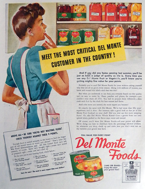 1944 WWII Del Monte Foods Ad ~ Critical Customer
